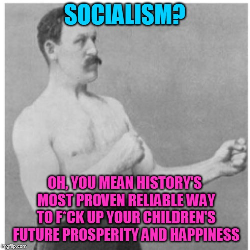 Sho' nuff. | SOCIALISM? OH, YOU MEAN HISTORY'S MOST PROVEN RELIABLE WAY TO F*CK UP YOUR CHILDREN'S FUTURE PROSPERITY AND HAPPINESS | image tagged in memes,overly manly man,politics,government,socialism | made w/ Imgflip meme maker