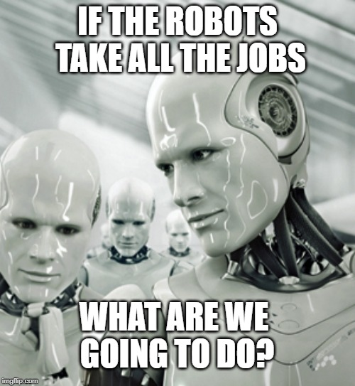 Robots Meme |  IF THE ROBOTS TAKE ALL THE JOBS; WHAT ARE WE GOING TO DO? | image tagged in memes,robots | made w/ Imgflip meme maker