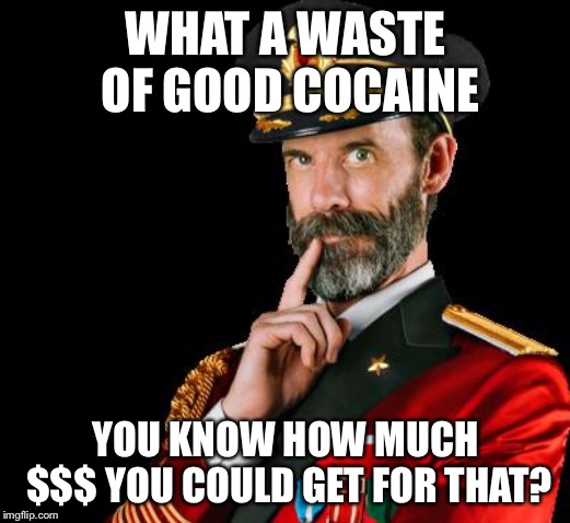 captain obvious | WHAT A WASTE OF GOOD COCAINE YOU KNOW HOW MUCH $$$ YOU COULD GET FOR THAT? | image tagged in captain obvious | made w/ Imgflip meme maker