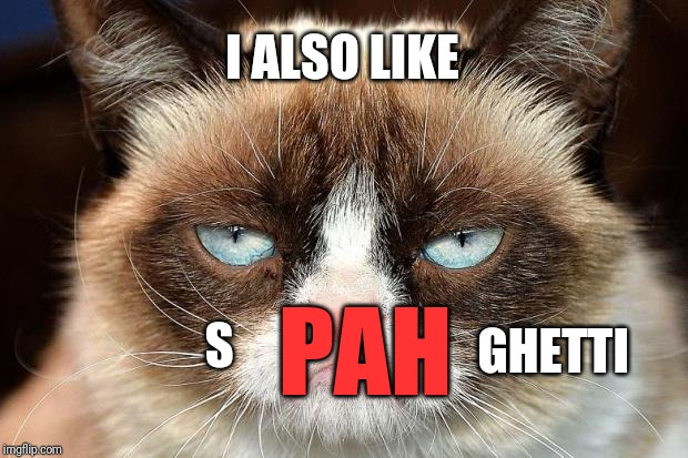 Grumpy Cat Not Amused Meme | S GHETTI PAH I ALSO LIKE | image tagged in memes,grumpy cat not amused,grumpy cat | made w/ Imgflip meme maker