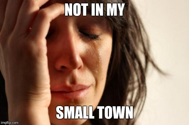 First World Problems Meme | NOT IN MY SMALL TOWN | image tagged in memes,first world problems | made w/ Imgflip meme maker