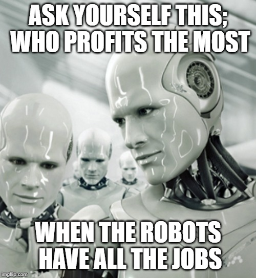 Robots | ASK YOURSELF THIS; WHO PROFITS THE MOST WHEN THE ROBOTS HAVE ALL THE JOBS | image tagged in memes,robots | made w/ Imgflip meme maker