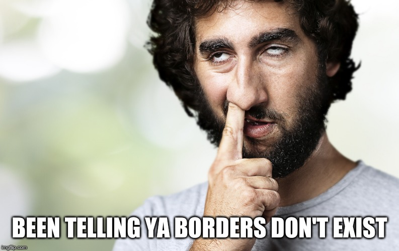 Finger in nose | BEEN TELLING YA BORDERS DON'T EXIST | image tagged in finger in nose | made w/ Imgflip meme maker