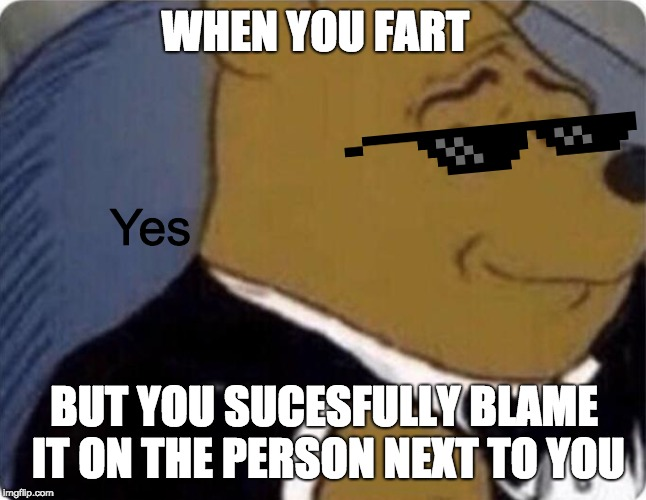 tuxedo winnie the pooh | WHEN YOU FART BUT YOU SUCESFULLY BLAME IT ON THE PERSON NEXT TO YOU Yes | image tagged in tuxedo winnie the pooh | made w/ Imgflip meme maker
