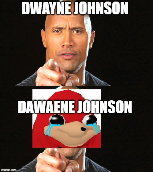 Ima genius | DWAYNE JOHNSON DAWAENE JOHNSON | image tagged in dwayne johnson,ugandan knuckles,do you know da wae,no one will read this tag | made w/ Imgflip meme maker