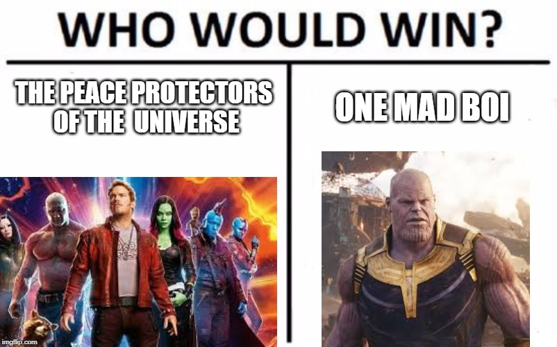 Who Would Win? | THE PEACE PROTECTORS OF THE UNIVERSE ONE MAD BOI | image tagged in memes,who would win | made w/ Imgflip meme maker