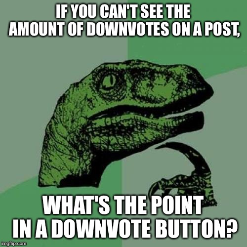 Philosoraptor Meme | IF YOU CAN'T SEE THE AMOUNT OF DOWNVOTES ON A POST, WHAT'S THE POINT IN A DOWNVOTE BUTTON? | image tagged in memes,philosoraptor | made w/ Imgflip meme maker