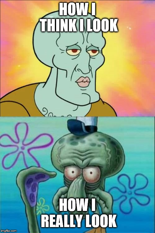 Squidward Meme | HOW I THINK I LOOK HOW I REALLY LOOK | image tagged in memes,squidward | made w/ Imgflip meme maker