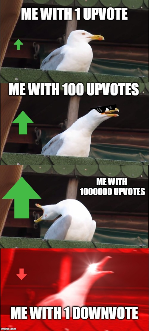 Inhaling Seagull Meme | ME WITH 1 UPVOTE ME WITH 100 UPVOTES ME WITH 1000000 UPVOTES ME WITH 1 DOWNVOTE | image tagged in memes,inhaling seagull | made w/ Imgflip meme maker