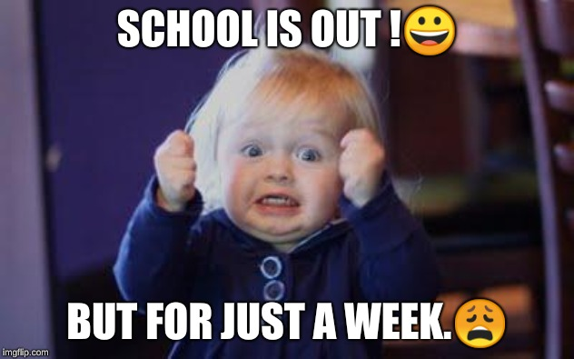 excited kid | SCHOOL IS OUT !? BUT FOR JUST A WEEK.? | image tagged in excited kid | made w/ Imgflip meme maker