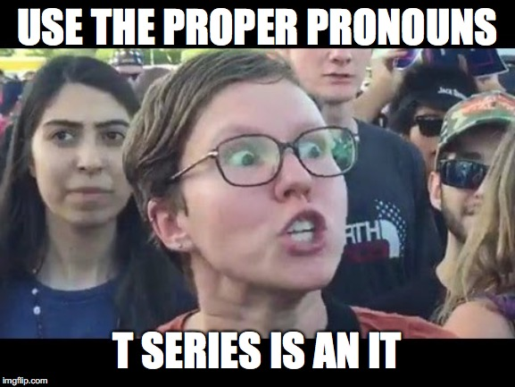 USE THE PROPER PRONOUNS T SERIES IS AN IT | image tagged in angry sjw | made w/ Imgflip meme maker