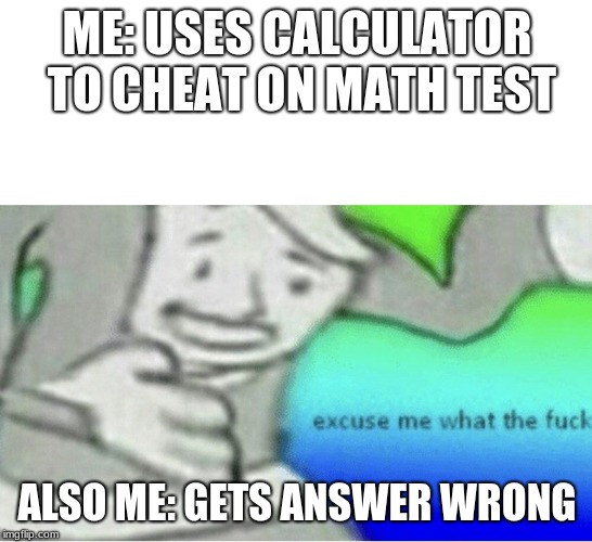 Excuse me wtf blank template | ME: USES CALCULATOR TO CHEAT ON MATH TEST ALSO ME: GETS ANSWER WRONG | image tagged in excuse me wtf blank template | made w/ Imgflip meme maker
