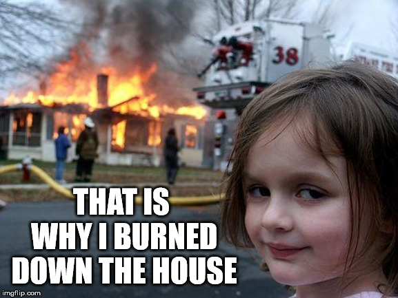 Disaster Girl Meme | THAT IS WHY I BURNED DOWN THE HOUSE | image tagged in memes,disaster girl | made w/ Imgflip meme maker