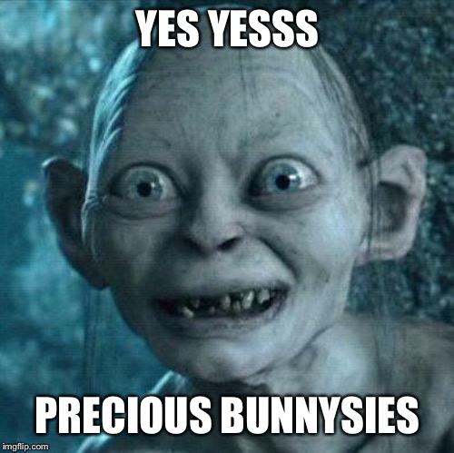 Excited Gollum | YES YESSS PRECIOUS BUNNYSIES | image tagged in excited gollum | made w/ Imgflip meme maker