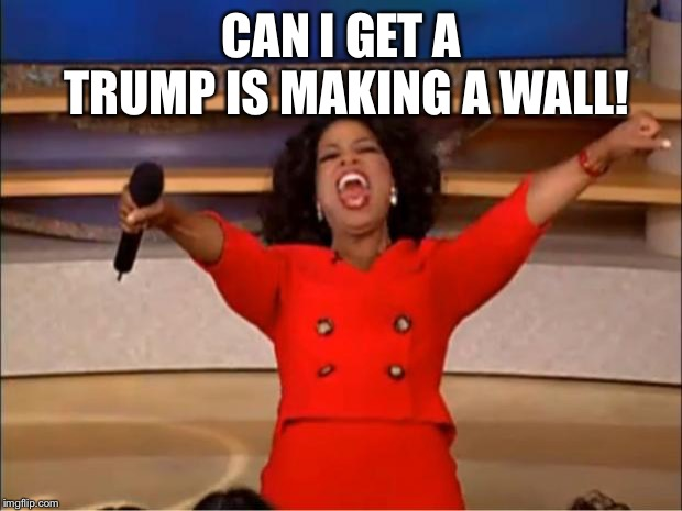 Oprah You Get A Meme | CAN I GET A TRUMP IS MAKING A WALL! | image tagged in memes,oprah you get a | made w/ Imgflip meme maker