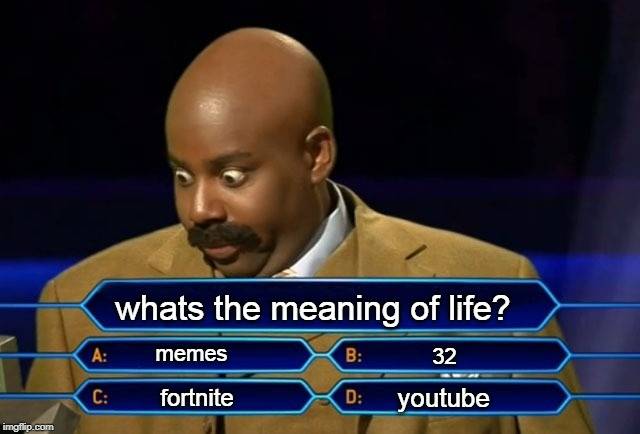 Who wants to be a millionaire? | whats the meaning of life? memes fortnite youtube 32 | image tagged in who wants to be a millionaire | made w/ Imgflip meme maker