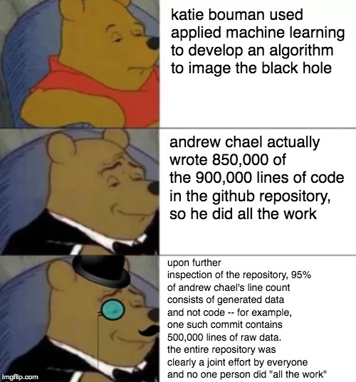 Fancy Winnie the Pooh | katie bouman used applied machine learning to develop an algorithm to image the black hole upon further inspection of the repository, 95% of | image tagged in fancy winnie the pooh,ProgrammerHumor | made w/ Imgflip meme maker