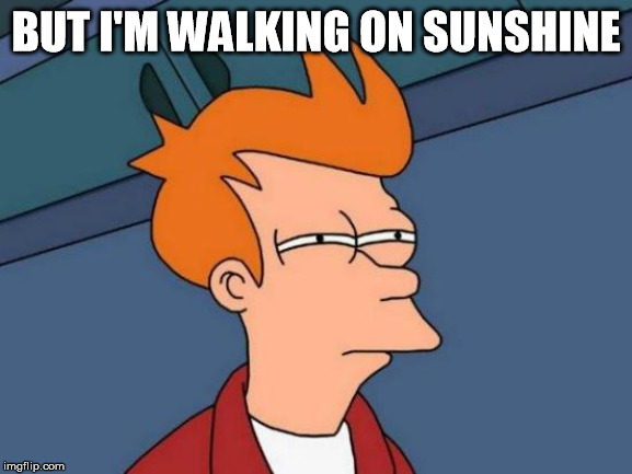 Futurama Fry Meme | BUT I'M WALKING ON SUNSHINE | image tagged in memes,futurama fry | made w/ Imgflip meme maker