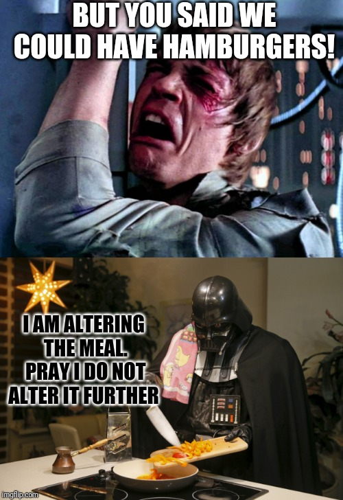 Skywalker Family Dinner | BUT YOU SAID WE COULD HAVE HAMBURGERS! I AM ALTERING THE MEAL. PRAY I DO NOT ALTER IT FURTHER | image tagged in luke skywalker crying,memes,star wars,darth vader,darth vader luke skywalker,confused dafuq jack sparrow what | made w/ Imgflip meme maker