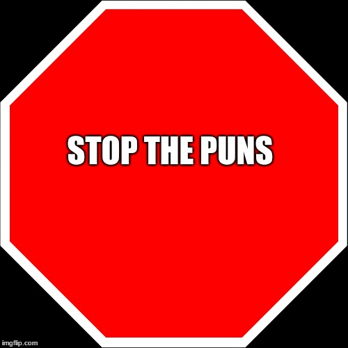 blank stop sign | STOP THE PUNS | image tagged in blank stop sign | made w/ Imgflip meme maker