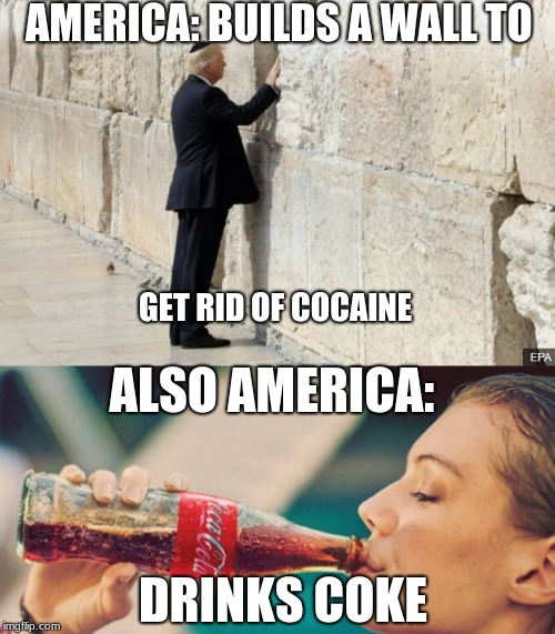 Coke | AMERICA: BUILDS A WALL TO GET RID OF COCAINE ALSO AMERICA: DRINKS COKE | image tagged in wallllllll,america,coke,politics,memes,funny | made w/ Imgflip meme maker