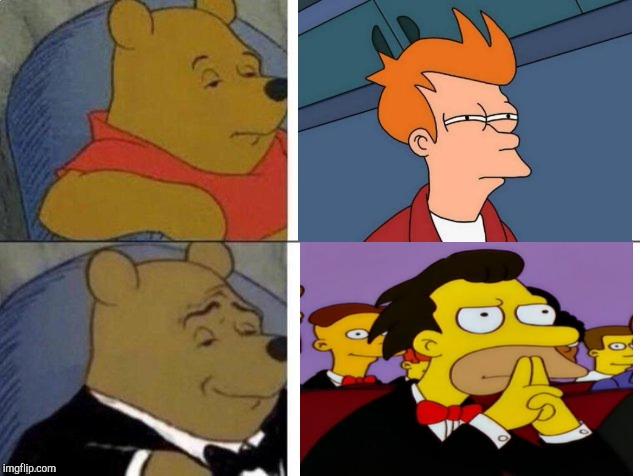 image tagged in futurama fry,tuxedo winnie the pooh,lenny face,lenny,fry,not sure if | made w/ Imgflip meme maker