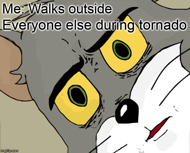 Unsettled Tom Meme | Me: Walks outside Everyone else during tornado | image tagged in memes,unsettled tom | made w/ Imgflip meme maker