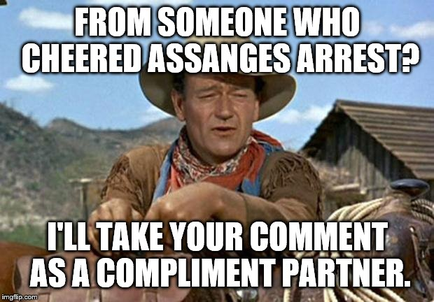 John wayne | FROM SOMEONE WHO CHEERED ASSANGES ARREST? I'LL TAKE YOUR COMMENT AS A COMPLIMENT PARTNER. | image tagged in john wayne | made w/ Imgflip meme maker