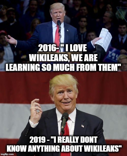 "Liar, idiot, or total whack job? | 2016- "" I LOVE WIKILEAKS, WE ARE LEARNING SO MUCH FROM THEM"" 2019 - ""I REALLY DONT KNOW ANYTHING ABOUT WIKILEAKS"" 