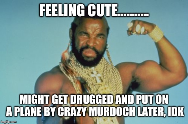 Mr T | FEELING CUTE........... MIGHT GET DRUGGED AND PUT ON A PLANE BY CRAZY MURDOCH LATER, IDK | image tagged in memes,mr t | made w/ Imgflip meme maker