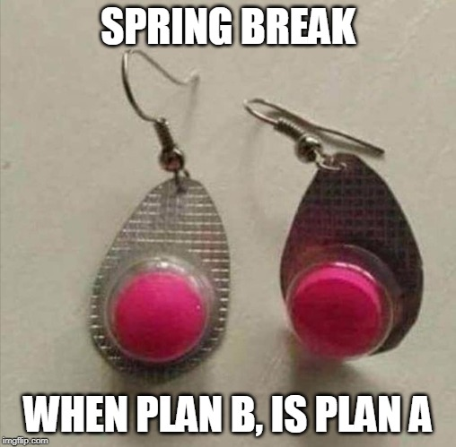 SPRING BREAK WHEN PLAN B, IS PLAN A | image tagged in benadryl | made w/ Imgflip meme maker