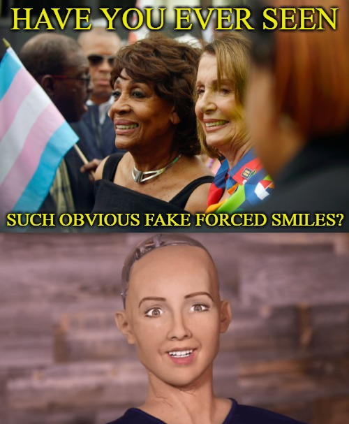 Where have I seen these fake smiles before? | HAVE YOU EVER SEEN SUCH OBVIOUS FAKE FORCED SMILES? | image tagged in memes,nancy pelosi,maxine waters,sophia the robot,fake smiles | made w/ Imgflip meme maker