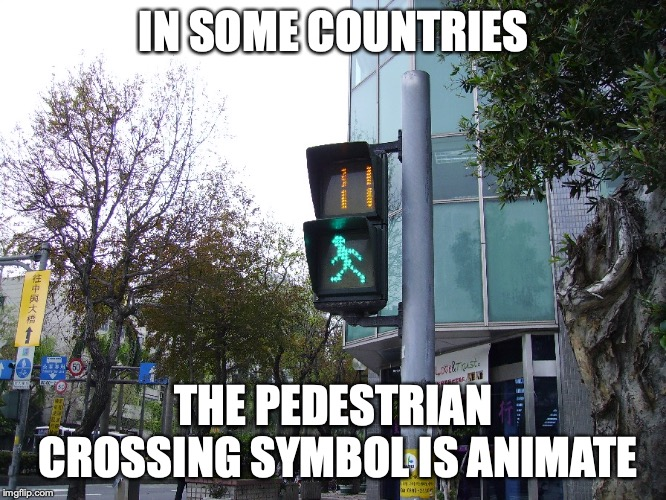Animate Crossing Symbol | IN SOME COUNTRIES THE PEDESTRIAN CROSSING SYMBOL IS ANIMATE | image tagged in traffic light,memes | made w/ Imgflip meme maker