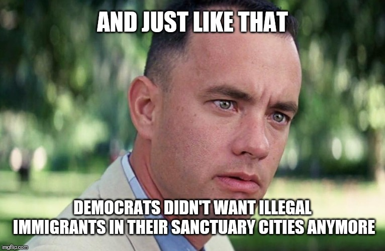 Say what?? | AND JUST LIKE THAT DEMOCRATS DIDN'T WANT ILLEGAL IMMIGRANTS IN THEIR SANCTUARY CITIES ANYMORE | image tagged in and just like that,illegal immigration,sanctuary cities,democrats | made w/ Imgflip meme maker