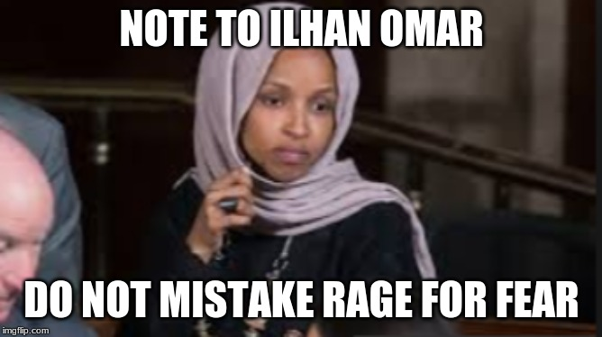 NOTE TO ILHAN OMAR DO NOT MISTAKE RAGE FOR FEAR | image tagged in ilhan omar,rage,fear | made w/ Imgflip meme maker