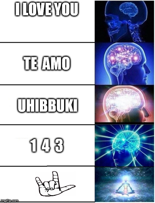 Expanding Brain 5 Panel | I LOVE YOU TE  AMO UHIBBUKI 1  4  3 | image tagged in expanding brain 5 panel | made w/ Imgflip meme maker