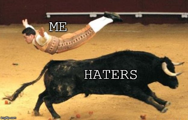 The secret to a stress-free life: | ME HATERS | image tagged in haters,bull fighting | made w/ Imgflip meme maker