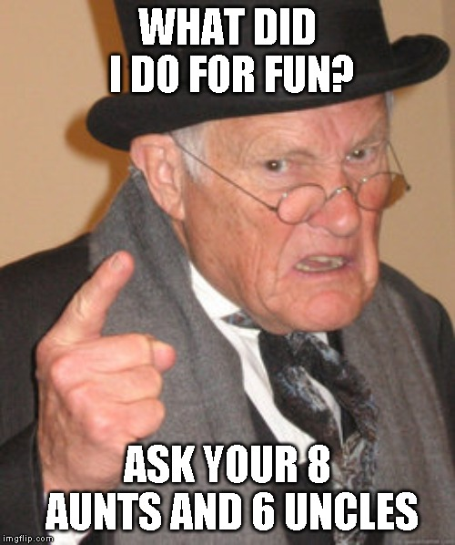Back In My Day | WHAT DID I DO FOR FUN? ASK YOUR 8 AUNTS AND 6 UNCLES | image tagged in memes,back in my day | made w/ Imgflip meme maker