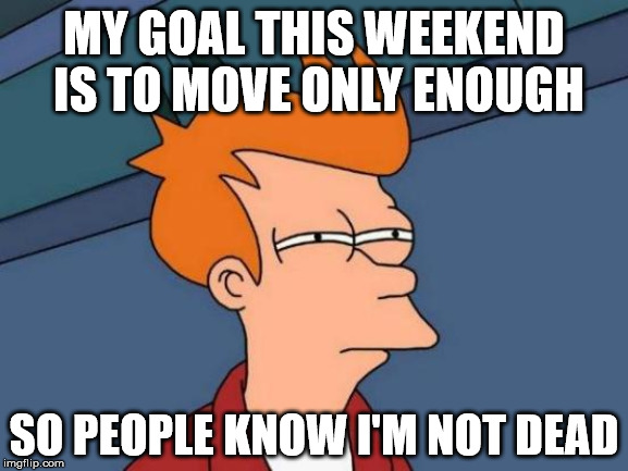 Just go around me | MY GOAL THIS WEEKEND IS TO MOVE ONLY ENOUGH SO PEOPLE KNOW I'M NOT DEAD | image tagged in memes,futurama fry,not dead,just go around me,weekend,goal | made w/ Imgflip meme maker