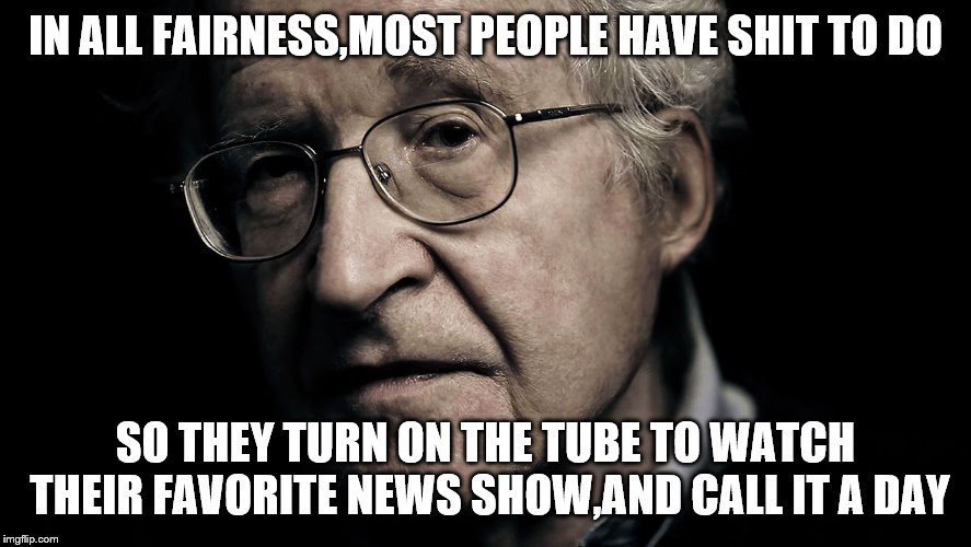 Noam Chomsky | IN ALL FAIRNESS,MOST PEOPLE HAVE SHIT TO DO SO THEY TURN ON THE TUBE TO WATCH THEIR FAVORITE NEWS SHOW,AND CALL IT A DAY | image tagged in noam chomsky | made w/ Imgflip meme maker