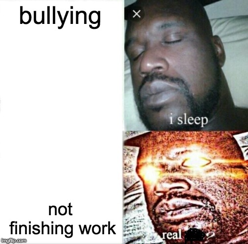 Sleeping Shaq Meme | bullying not finishing work | image tagged in memes,sleeping shaq | made w/ Imgflip meme maker
