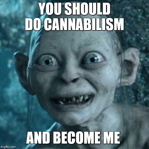 Become me when you do this | YOU SHOULD DO CANNABILISM AND BECOME ME | image tagged in memes,gollum | made w/ Imgflip meme maker