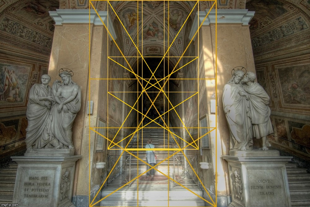The stairs Jesus climbed with The Golden Ratio. | image tagged in the golden ratio,jesus,stairs,vatican,catholicism,deception | made w/ Imgflip meme maker