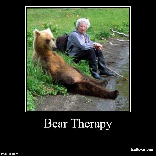 Bear Therapy | Bear Therapy | trailboxes.com | image tagged in funny,demotivationals,hiking | made w/ Imgflip demotivational maker