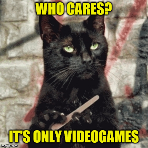 Indifferent cat | WHO CARES? IT'S ONLY VIDEOGAMES | image tagged in indifferent cat | made w/ Imgflip meme maker