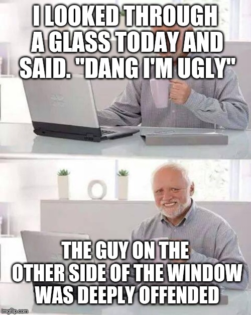 "Hide the Pain Harold Meme | I LOOKED THROUGH A GLASS TODAY AND SAID. ""DANG I'M UGLY"" THE GUY ON THE OTHER SIDE OF THE WINDOW WAS DEEPLY OFFENDED 