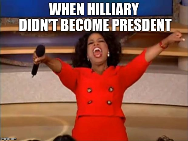 Oprah You Get A Meme | WHEN HILLIARY DIDN'T BECOME PRESDENT | image tagged in memes,oprah you get a | made w/ Imgflip meme maker