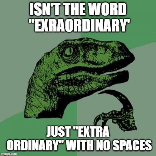 "Philosoraptor Meme | ISN'T THE WORD ""EXRAORDINARY' JUST ""EXTRA ORDINARY"" WITH NO SPACES 