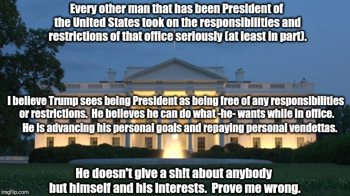 white house | Every other man that has been President of the United States took on the responsibilities and restrictions of that office seriously (at leas | image tagged in white house | made w/ Imgflip meme maker