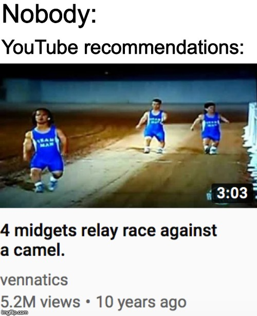 What does youtube think I want to watch? | Nobody: YouTube recommendations: | image tagged in midgets,camel,youtube | made w/ Imgflip meme maker